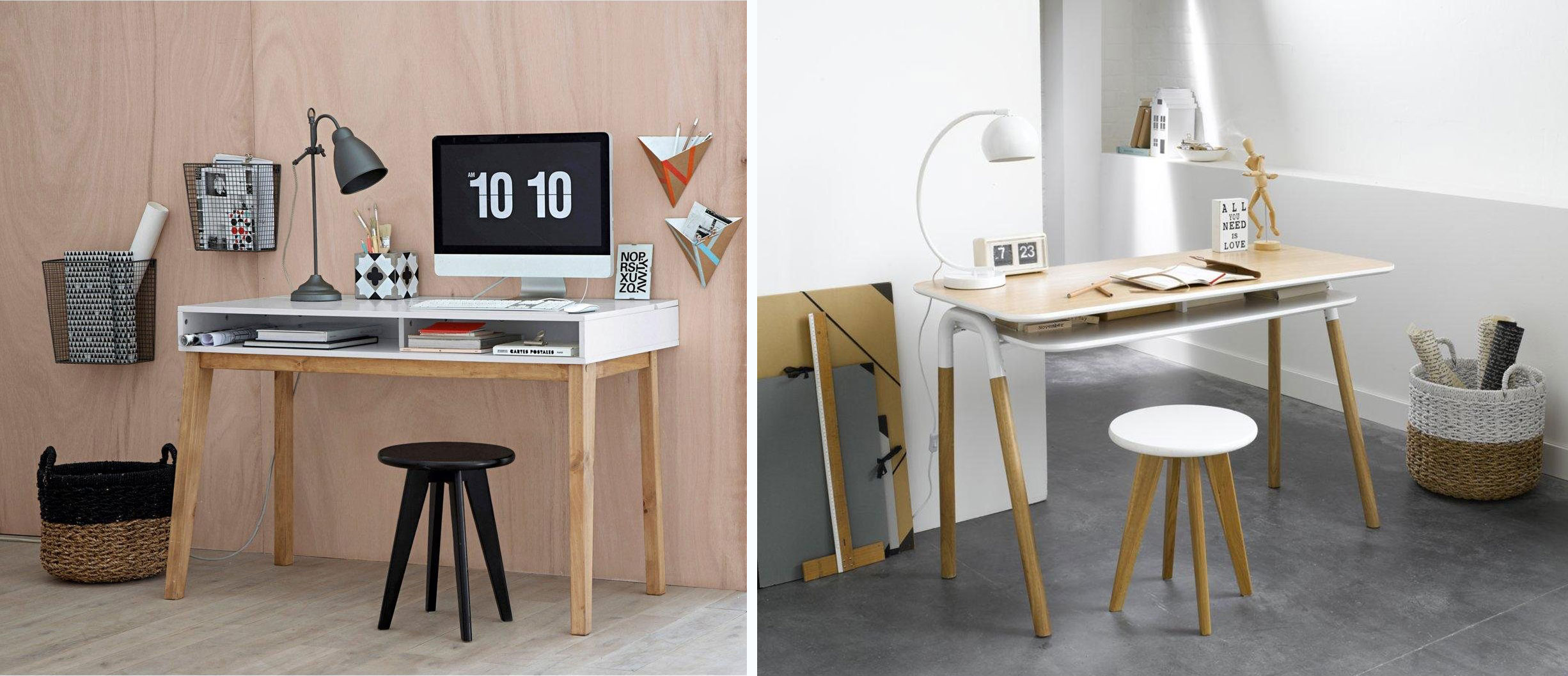 bureau design deco bois blanc style scandinave la redoute. Black Bedroom Furniture Sets. Home Design Ideas