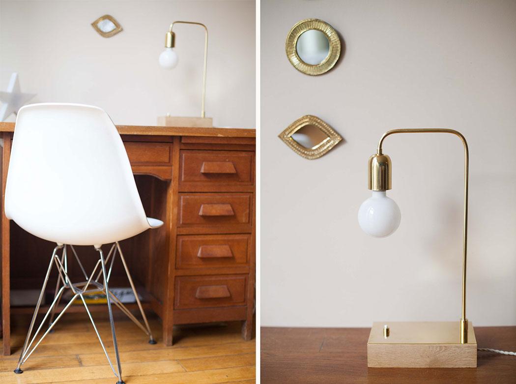lampe a poser cuivre bois fait main vanity boum la seinographe. Black Bedroom Furniture Sets. Home Design Ideas