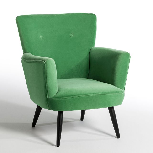 fauteuil deco velours vert scandi vintage am pm la seinographe. Black Bedroom Furniture Sets. Home Design Ideas